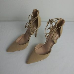 Lulus Nude Suede Lace up Heels(7)Pointed Toe